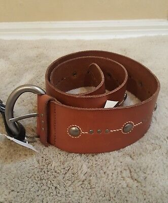 NWT Fossil Brown Leather Embossed-Stud Wide Belt Women's M