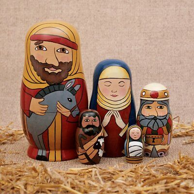 Bits and Pieces - 5pc Nesting Doll Holy Family -The Nativity Family Hand Painted