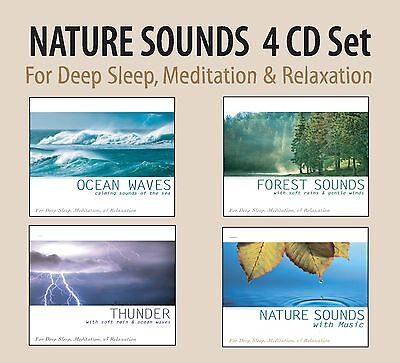 NATURE SOUNDS 4 CD SET: Ocean Waves, Forest Sounds, Thunder Sounds of Nature NEW