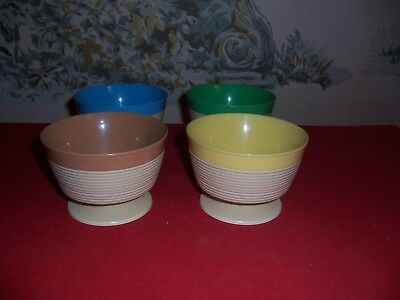 Vintage Plastic Raffia Ware by Thermo-Temp Cereal/ice cream bowls-Set of 4