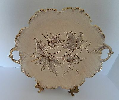 California Original Pottery Beige Handled Serving Tray #701 Gold Trim Speckles