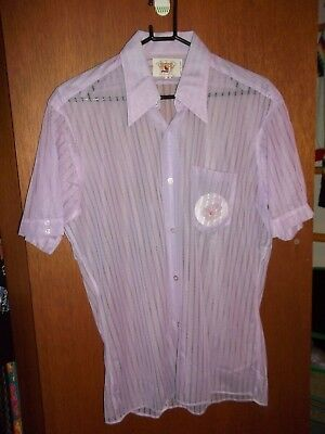 NOS House of Lords Vintage mens dagger collar 70's purple sheer nylon shirt M