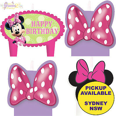 Minnie Mouse Party Supplies 4 Mini Candles Set Birthday Cake Topper Decorations