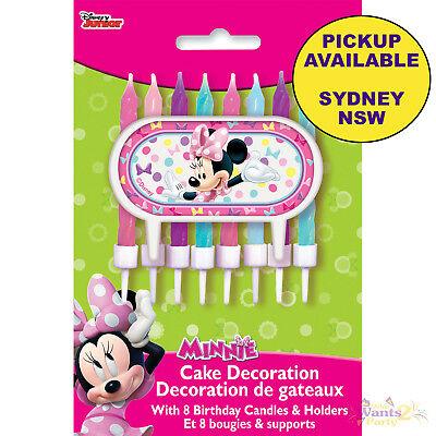 Minnie Mouse Party Supplies Cake Topper Set & 8 Birthday Candles Decorations
