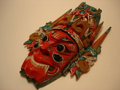 Asian Oriental Carved Painted Wood Dragon Mask