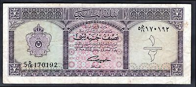 Libya: Bank Of Libya, half pound, (1963), 5D/16 170192. (Pick 29). GF+.