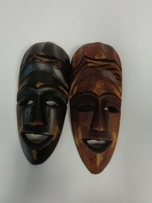 Lot of 2 Wooden Decorative Wall Masks