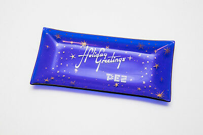 Very Rare Vintage PEZ Holiday Greetings Cobalt Blue Glass Candy Dish