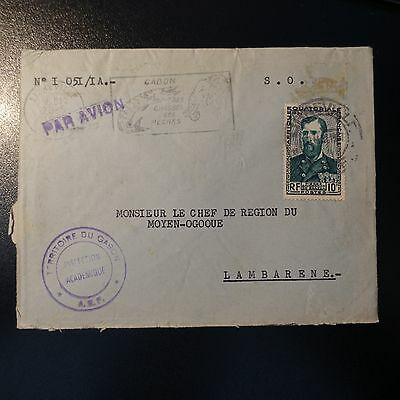 Gabon Aef Letter Cover 1957 Libreville Pr Chef Region Of The Way Ogooué