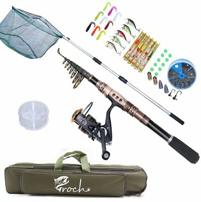 Telescopic Spinning Fishing Rod 2.4M and Reel Combo Set with Lures Jigs