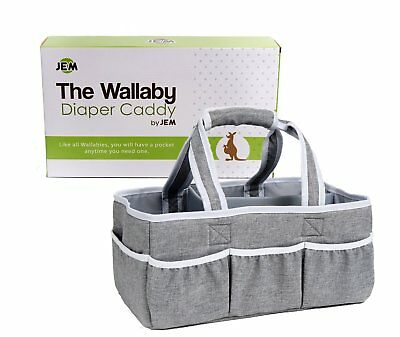 Wallaby Diaper Caddy Organizer Portable Storage Bin for Diapers, Wipes, Baby and