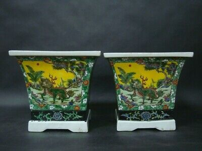 A Pair of Rare Old Thick Heavy Chinese Painting Porcelain Flower Pots Vases