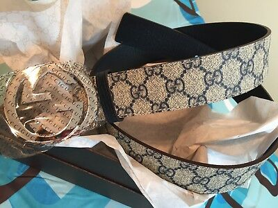 New blue GUCCI-Men's Leather Shiny Belt in Black 110CM: 31-34 inch Waists !!