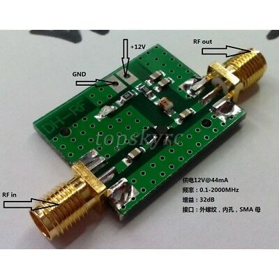 0.1-2000MHz RF Wide band Amplifier Gain 30dB Low-noise Amplifier LNA 6-12 VDC