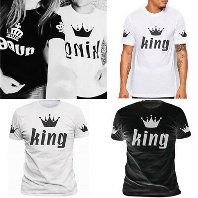 King And Queen Love Matching T-Shirt 2018 Couple Summer Unisex Tee Tops Clothes