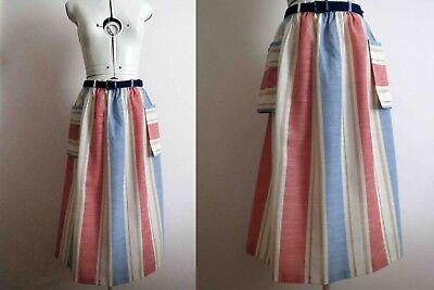 70s Nautical Ticking Stripe Apron Skirt Small Buy 3+ items for FREE Post