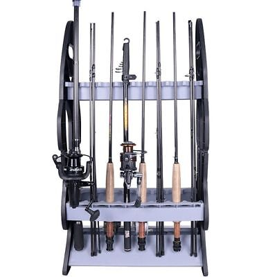 Fishing Rod Rack Stand - Fishing Holder Holds 16 Fish Rods - Floor Storage Stand