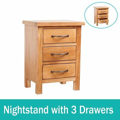 Oak Nightstand 3 Drawers with Handles Brown Bedside Table 40 x 30 x 54 cm Home