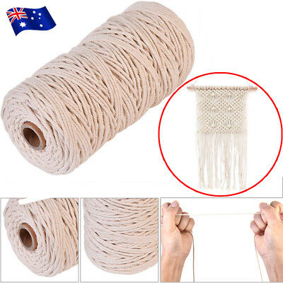 DIY 200M 3mm Natural Cotton Cord Twine Braided Rope Cord Sash String Craft Gifts