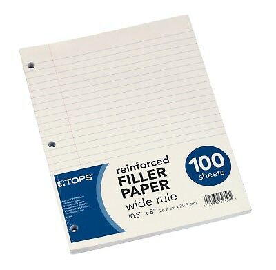 TOPS Reinforced Filler Paper Wide Rule 10-1/2 x 8 100 Sheets (62356)