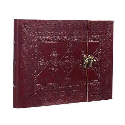Indra Medium Embossed Leather Photo Album Scrapbook Sketchbook 2nd Quality