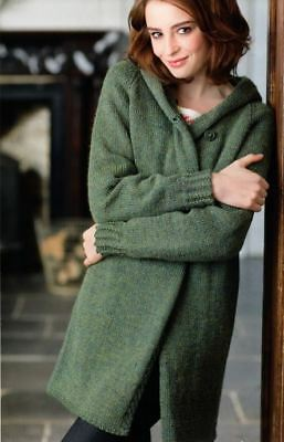 Knitting Pattern Lady's Aran Cable Long Line Hooded Cardigan/Jacket  (129)
