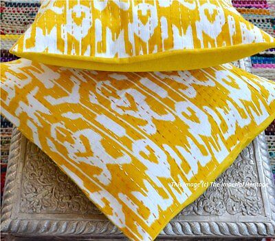 Handmade Indian Ikat Paisley Print Yellow Pair Cushion Covers Pillow-Case 16""