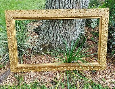 Antique gilt gesso wood frame french florentine baroque vintage 44x27