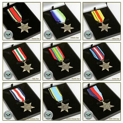 Military Medal Campaign Star Full Size Replica In Presentation Gift Box WWII