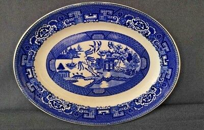 """Vintage Blue Willow Oval Serving Plate 10 1/4""""  x 7 7/8"""" - Unmarked"""