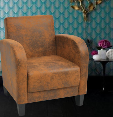 Brown Vintage Leather Armchair Antique Lounge Chair Retro Furniture Seater Room
