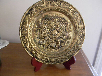 """Vintage Solid Brass Wall Hanging 3D Plaque Plate 9""""- English Pub Motif -England"""