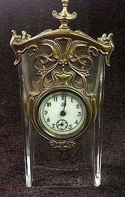 Chic Turn Of The Century Gold Jennings Brothers Wind Up Glass Desk Clock