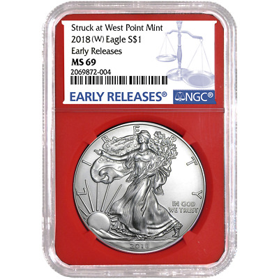 2018 (W) $1 American Silver Eagle NGC MS69 Blue ER Label Red Core