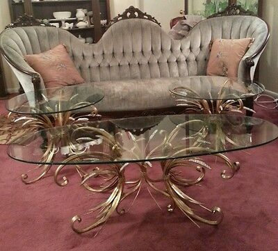 Vintage Hollywood Regency Italian Tole Gold Gilt Wheat Sheath Coffee& End Tables