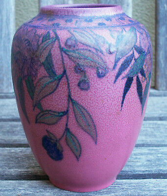 Rookwood Pottery Vase E.T. Hurley Floral 1937 Model 6640 Vellum? No Crazing