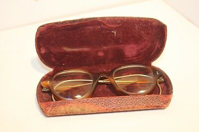 ANTIQUE VINTAGE behind ear tortoise shell plastic frame retro glasses spectacles