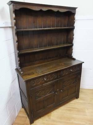 Early Victorian Carved Dark Solid Oak Dresser, 2 Drawers Over 3 Cupboards.