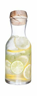 Clear Glass Bottle Decanter with Bamboo Stopper - 44 Ounce