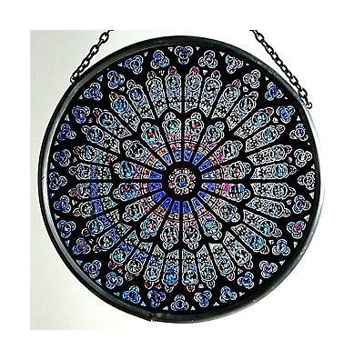 Decorative Hand Painted Stained Glass Window Sun Catcher/Roundel in a Notre D...