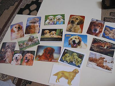 16 pocket calendars Gold Retrievers from different years/countries