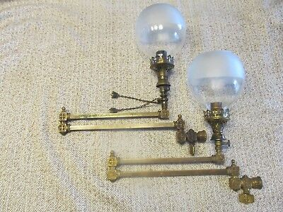 Two Antique Victorian Brass Adjustable Wall Mount Gas Lamps With Globes
