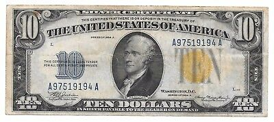 1934 A $10 Silver Certificate - Yellow Seal - North Africa - 10 Dollars