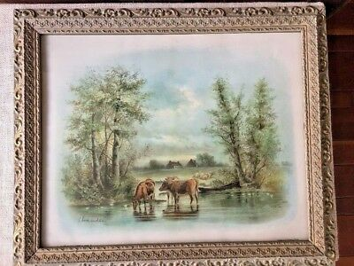 Antique CHANDLER Cattle at the Watering Place 1895 Framed Cows Print Farmhouse