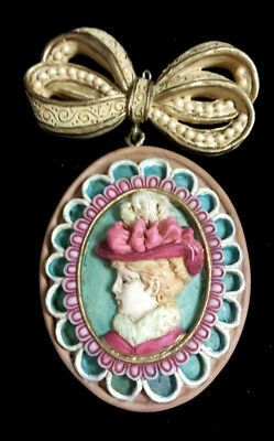 Vintage Victorian Lady, Head Christmas Ornament MSI 1996 Cameo with Bow
