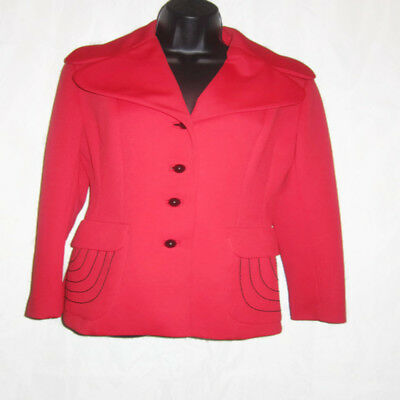 Rare Vintage 50s Lilli Ann of San Francisco Womens SZ M Work Career Blazer Red