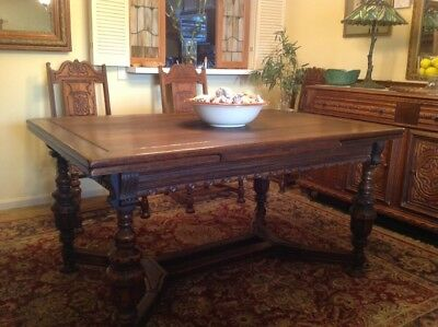 Antique English Carved Oak DINING TABLE Draw Leaf Jacobean 6 Chairs