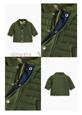 BNWT NEXT 9-12-18-24 months boys OLIVE GREEN/KHAKI QUILTED JACKET WITH ZIP