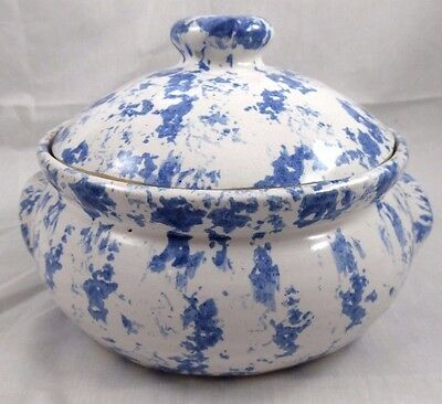 """Ky Bybee Pottery Rare 8.5"""" Casserole Dish With Lid Blue & White Spongeware"""