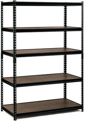 5 Shelf Steel Commercial Shelving Unit in Black Workbench Storage Bins Boxes